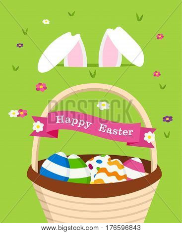 Happy Easter Card Of Bunny And Holiday Eggs