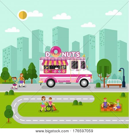 Flat design vector illustration of City landscape with donuts car. Mobile retro vintage shop truck icon with signboard with big donut with sweet glaze. Men and woman have a picnic eating donuts