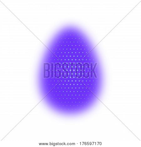 Easter Egg Purple, Blurred. Happy Easter. Christ Is Risen. Halftone Effect. White, Festive Backgroun
