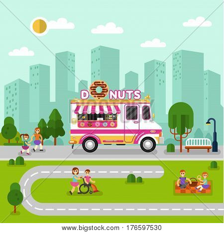Flat design vector illustration of City landscape with donuts car. Mobile retro vintage shop truck icon with signboard with big donut with chocolate glaze. Men and woman have a picnic eating donuts
