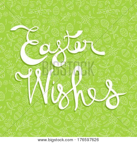 Easter Greeting Card Quote On Doodle Background