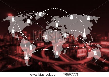 world map with social media connection icon on blurred night city background, network connection and technology concept, color tone effect.