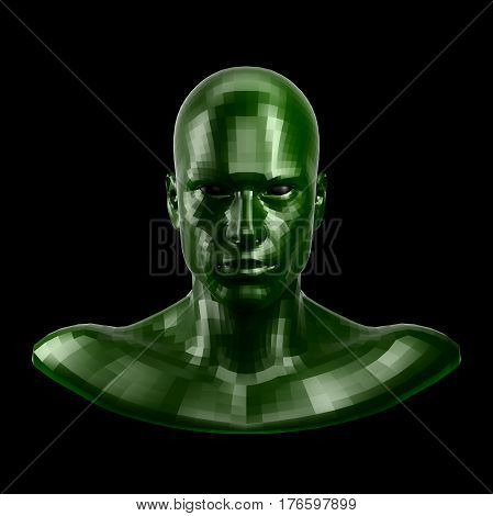 3D rendering. Faceted green robot face with black eyes looking front on camera. Isolated on black background