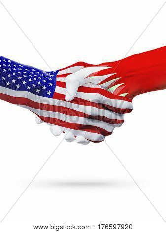 United States and Bahrain, countries flags, handshake concept cooperation, partnership, friendship, business deal or sports competition isolated on white