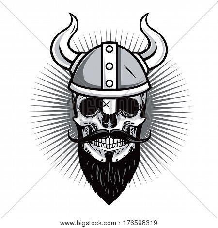 Skull of Viking Warrior Vector Illustration Icon