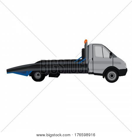 insulated gray tow truck flat icon, white background. wrecker, breakdown truck