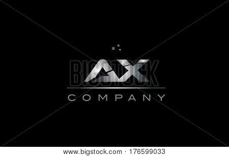 Ax A X  Silver Grey Metal Metallic Alphabet Letter Logo Icon Template