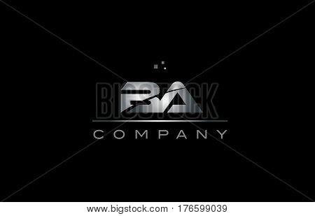 Ba B A  Silver Grey Metal Metallic Alphabet Letter Logo Icon Template