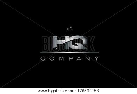 Hq H Q  Silver Grey Metal Metallic Alphabet Letter Logo Icon Template