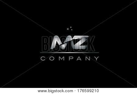 Lp L P  Silver Grey Metal Metallic Alphabet Letter Logo Icon Template