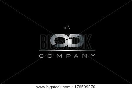Od O D  Silver Grey Metal Metallic Alphabet Letter Logo Icon Template