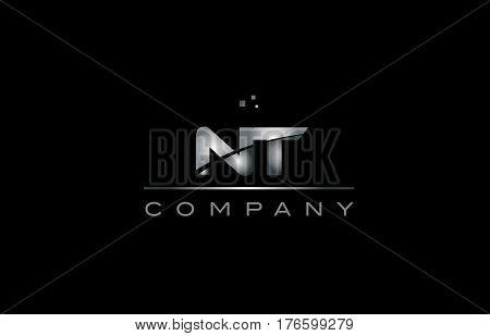 Nt N T  Silver Grey Metal Metallic Alphabet Letter Logo Icon Template