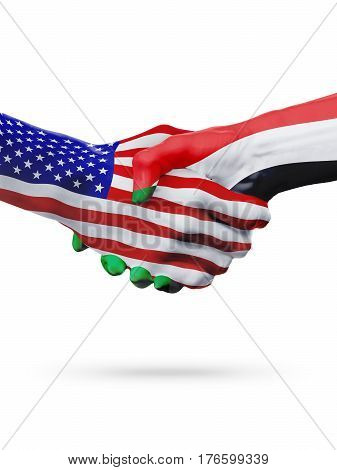 United States and Sudan, countries flags, handshake concept cooperation, partnership, friendship, business deal or sports competition isolated on white