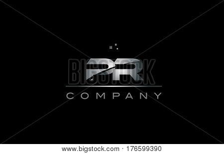 Pr P R  Silver Grey Metal Metallic Alphabet Letter Logo Icon Template