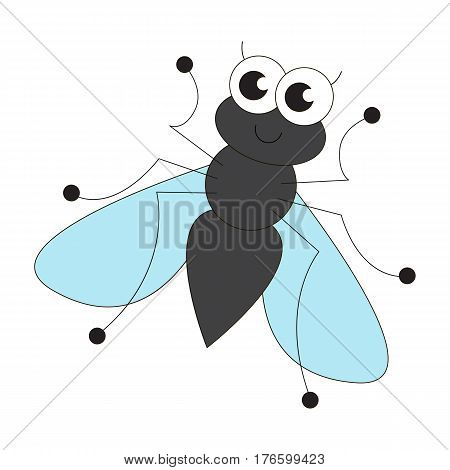 Cute fly cartoon. Outlined character with black stroke.