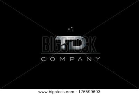 Td T D  Silver Grey Metal Metallic Alphabet Letter Logo Icon Template