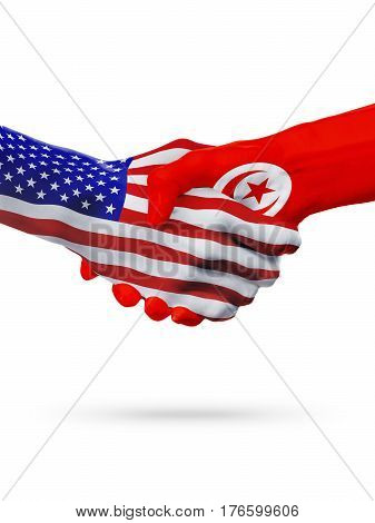 United States and Tunisia, countries flags, handshake concept cooperation, partnership, friendship, business deal or sports competition isolated on white