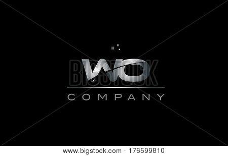 Wo W O  Silver Grey Metal Metallic Alphabet Letter Logo Icon Template