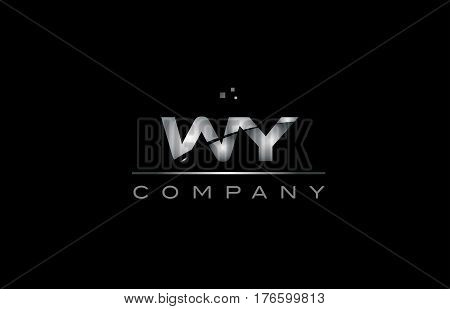 Wy W Y  Silver Grey Metal Metallic Alphabet Letter Logo Icon Template