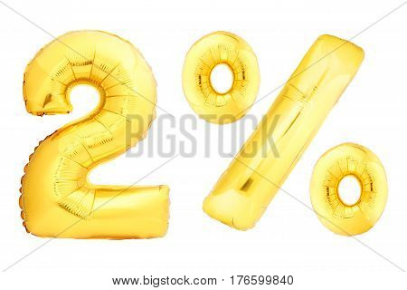 Golden two percent made of inflatable balloons isolated on white background. One of full percentage set