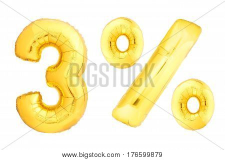 Golden three percent made of inflatable balloons isolated on white background. One of full percentage set