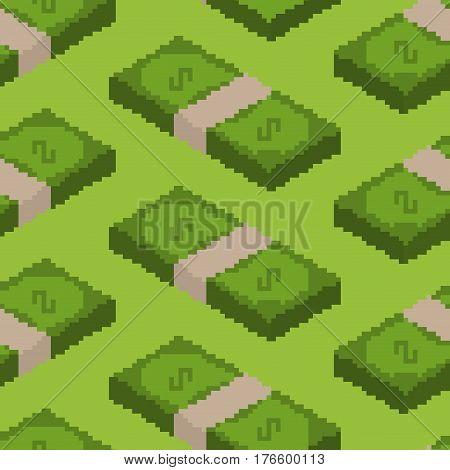 Money Pixel Art Seamless Pattern. Pixelated Cash Background. Dollars Texture