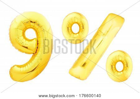 Golden nine percent made of inflatable balloons isolated on white background. One of full percentage set