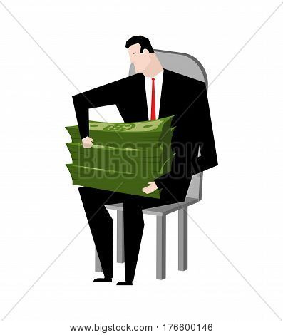 Businessman Fondling Money. Boss And Bundle Of Dollars. Lot Of Cash And Guy
