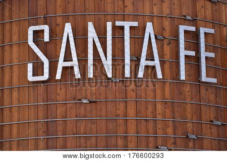 Santa Fe sign on the wooden water tower