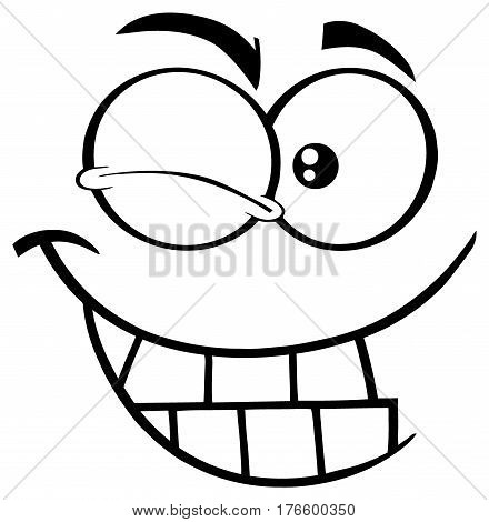Black And White Winking Cartoon Funny Face With Smiling Expression. Illustration Isolated On White Background