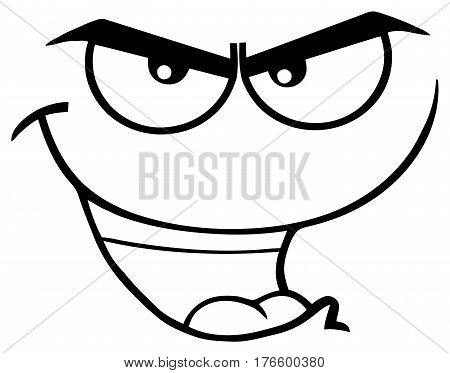 Black And White Evil Cartoon Funny Face With Bitchy Expression. Illustration Isolated On White Background