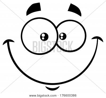 Black And White Smiling Cartoon Funny Face With Happy Expression. Illustration Isolated On White Background