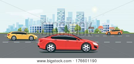 Urban Landscape Street Road With Cars And City Skyline Background
