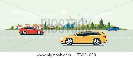 Urban Landscape Street Road With Cars And City Nature Background