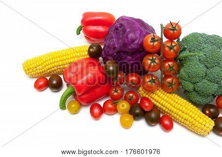 Fresh vegetables close-up on a white background. Horizontal photo.