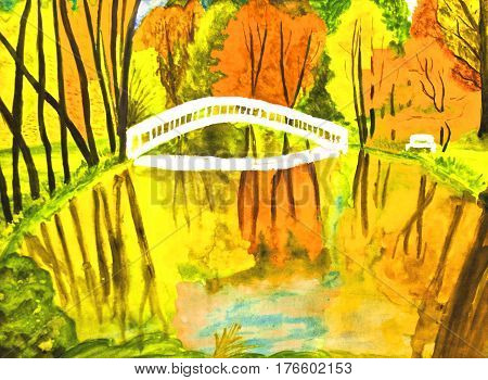 Painted picture watercolours - autumn landscape with forest lake and bridge.