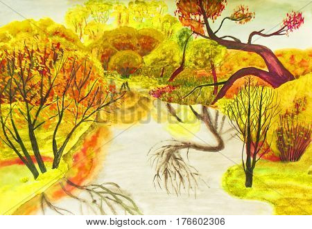 Hand painted picture watercolours autumn landscape with trees and river.