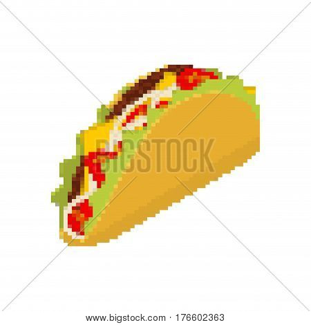 Taco Pixel Art. Tacos Are Pixelated. Mexican Fast Food Is Isolated. Mexico National Food