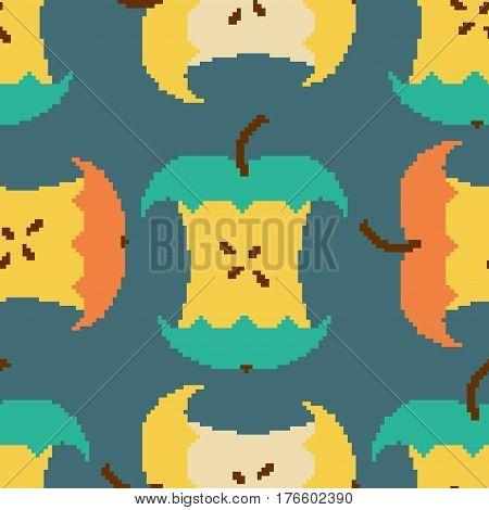 Apple Core Pixel Art Seamless Pattern. Pixelated Fruit Background. Retro Texture