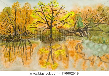 Hand painted illustration watercolours - autumn landscape with lake and trees.