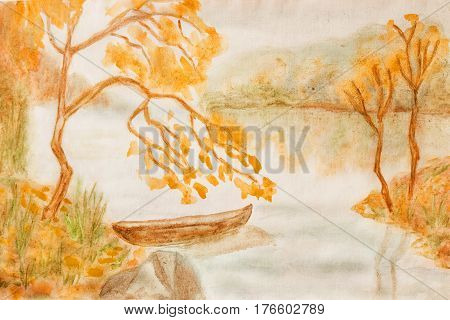 Hand painted picture watercolours autumn landscape with boat