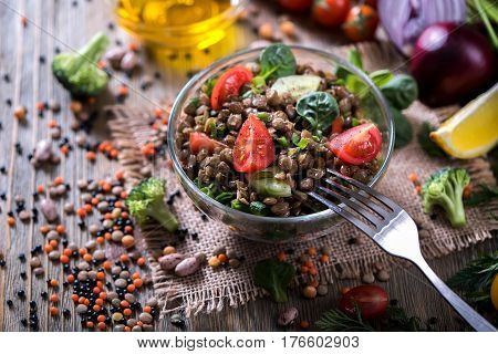 Lentil salad with veggies healthy food vegetarian and vegan snack clean eating diet detox