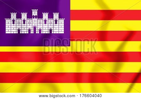 3D Flag Of Balearic Islands, Spain. 3D Illustration.