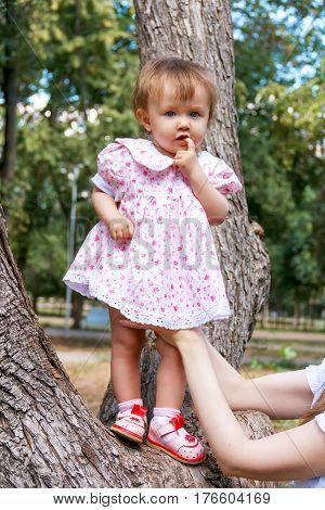 Cute infant in pink dress standing on tree suckle finger