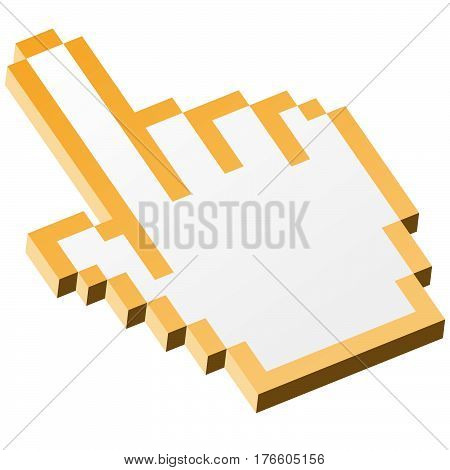 3D Pixel Graphic Hand - Forefinger Yellow