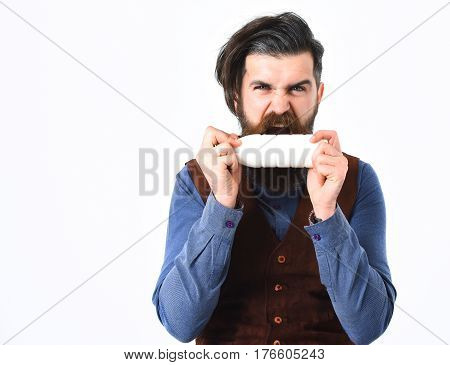 bearded man long beard brutal caucasian hipster with moustache holding bottle of kefir or yoghurt with angry face isolated on white background