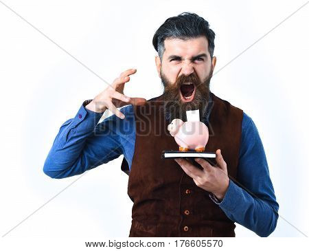 Bearded Man Holding Notepad And Moneybox With Angry Face
