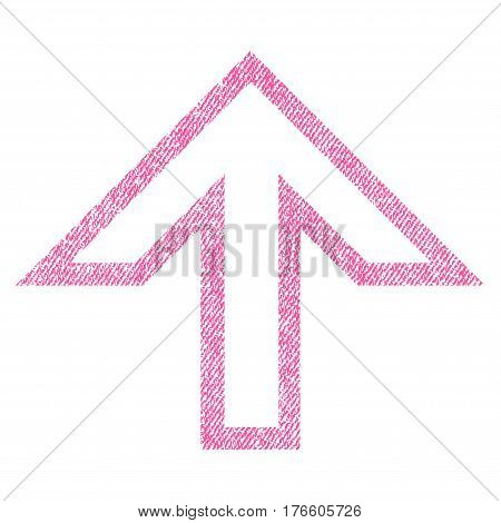 Arrow Up vector textured icon for overlay watermark stamps. Fabric pink vectorized texture. Symbol with unclean design. Rubber seal stamp with fiber textile structure.