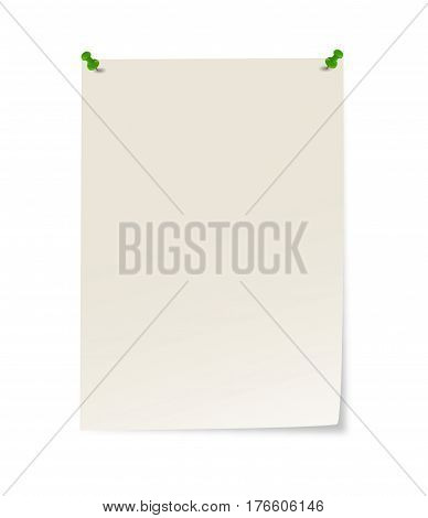 Blank Paper With Pins And Corner Sticking Out