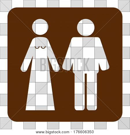 Married Groom And Bribe square icon. Vector pictograph style is a flat symbol perforation inside a rounded square shape, brown color.